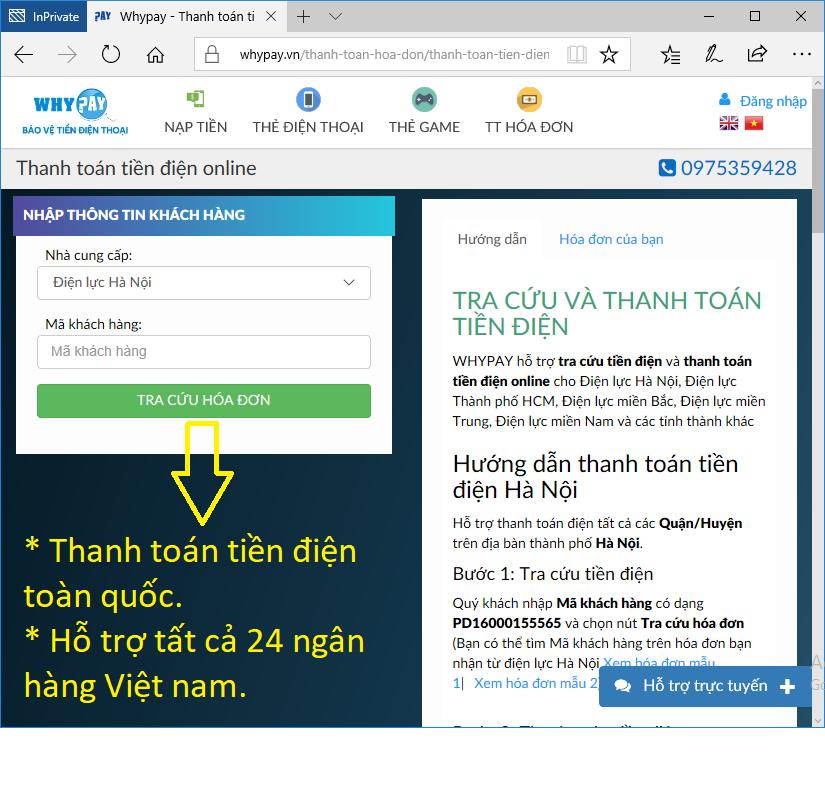 Thanh toán tiền điện online trên website Whypay
