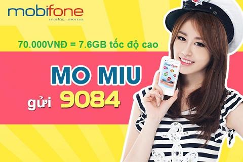 Đăng ký gói 3G Miu của Mobifone trọn gói 70.000đ/tháng
