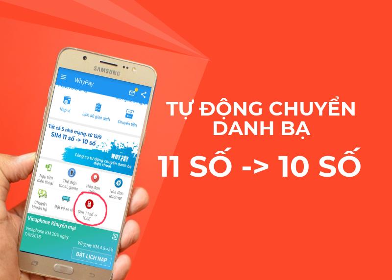 Hướng dẫn đổi danh bạ 11 số thành 10 số tự động bằng ứng dụng Whypay
