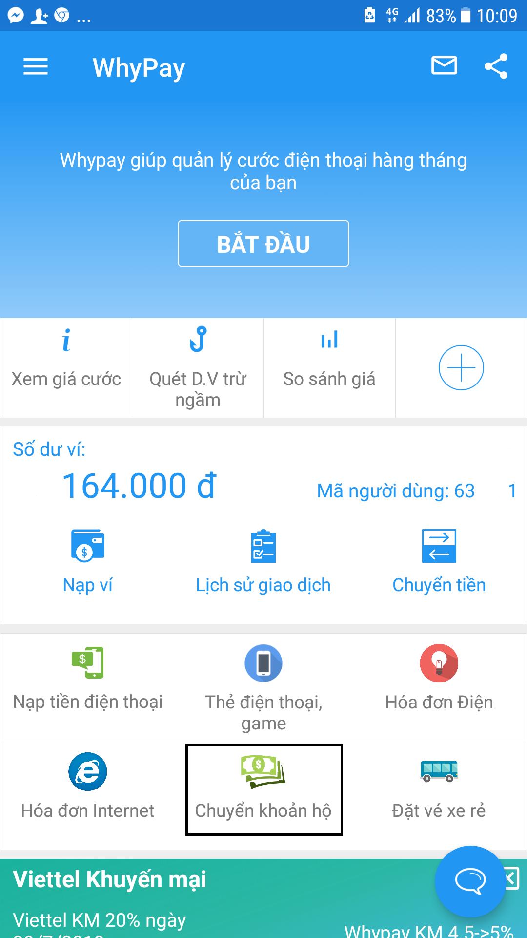Hướng dẫn chuyển tiền từ ví Whypay sang tài khoản ngân hàng