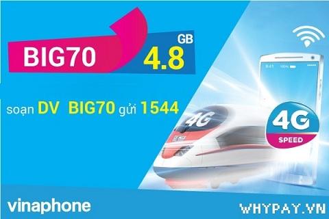 Đăng ký gói BIG70 của Vinaphone có ngay 4.8GB data