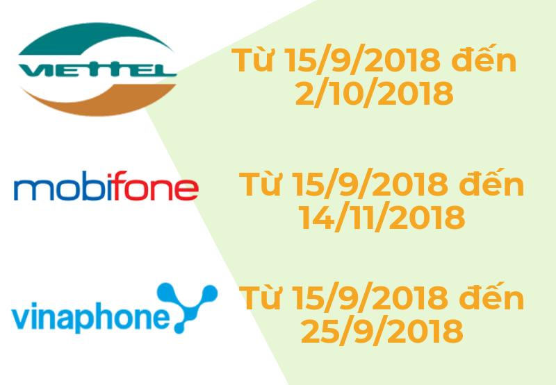 Lịch chuyển đổi SIM 11 số thành 10 số của Viettel, Vinaphone, MobiFone