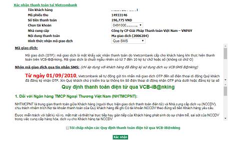 mua thẻ điện thoại bằng VCB