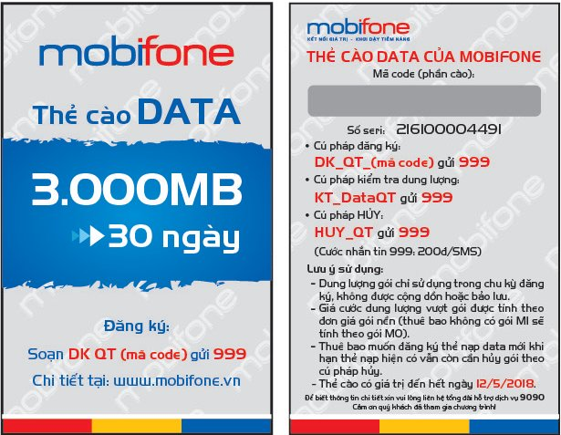 Hướng dẫn nạp thẻ Data 3G Mobifone