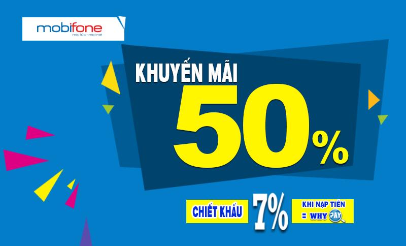Mobifone KM 50% giá trị thẻ nạp trong ngày 6/12/2017