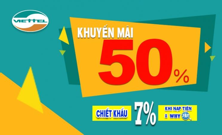 Viettel khuyến mãi 50% giá trị thẻ nạp trong ngày 31/8/2018